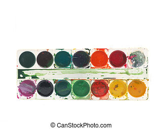 watercolor paints on a white background