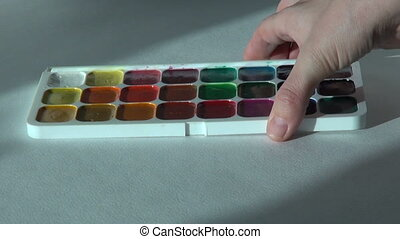 watercolor paints set. Creativity artist work school