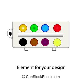 Watercolor paints. Stationery. School supplies. illustration on a white background. Element for your design..