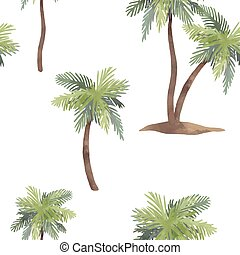 Watercolor palm tree vector pattern