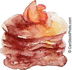 Watercolor Pancakes with fruits and maple syrup