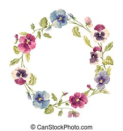 Watercolor pansy flower vector wreath