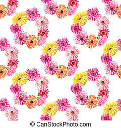 Watercolor pattern of pink flowers woven into wreaths....