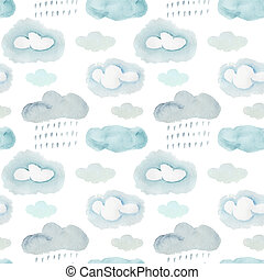 Watercolor pattern with gray storm clouds and rain