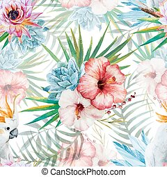 Watercolor pattern with parrot and flowers