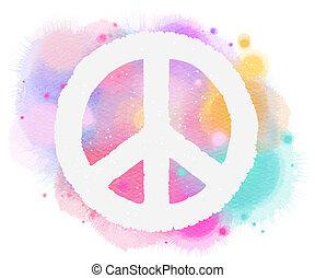 Watercolor peace symbol. Digital art painting
