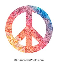 Watercolor peace symbol made of painted zentangles, pacifism sign. Hippie style ornamental background. Love and peace, hand-drawn doodle background. Colorful peace symbol on white background. Retro 1960s, 70s