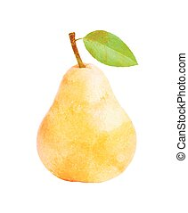 Watercolor Pear fruit with leaf on white