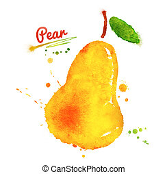 Watercolor pear. - Watercolor hand drawn yellow pear with...