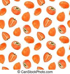 Watercolor persimmon vector pattern