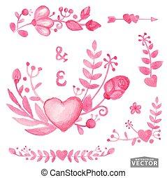 Watercolor pink floral bouquet, border, corner set