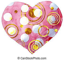 watercolor pink heart with gold strokes on white background