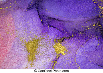Watercolor pink, purple and gold abstract stains background. Dark gradient texture.