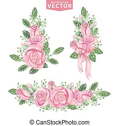Watercolor pink roses compositions.Cute vintage flowers -...