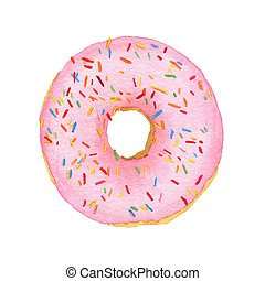 Watercolor pink with decorative sprinkles donut isolated on...