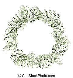 Watercolor Plants Wreath Isolated on White Background.