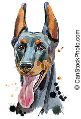 Watercolor portrait doberman