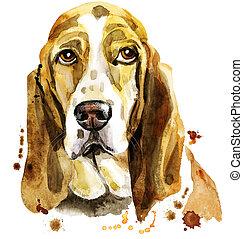 Watercolor portrait of basset hound - Cute Dog. Dog T-shirt ...