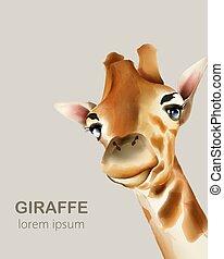 Watercolor portrait of giraffe head. Wildlife animals