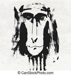 Watercolor portrait of grey furry monkey