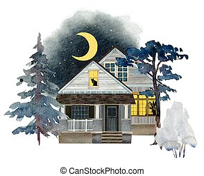 Watercolor portrait of house in the winter trees