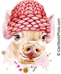 Watercolor portrait of mini pig in a knitted hat