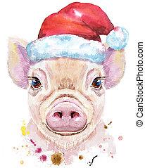 Watercolor portrait of mini pig in a Santa hat