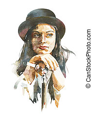 watercolor portrait of women in a hat