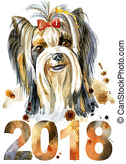 Watercolor Portrait Of Yorkshire Terrier Breed Dog. - Dog,...