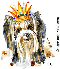 Watercolor Portrait Of Yorkshire terrier breed dog with a...