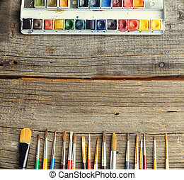Watercolor - Professional watercolor aquarell paints in box...