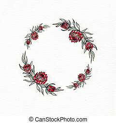 Watercolor protea flower wreath