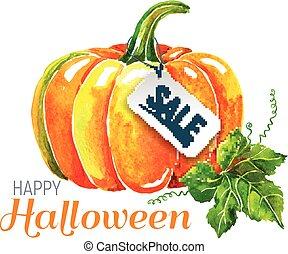 Watercolor pumpkin. Happy Halloween composition.