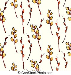 Watercolor pussy-willow vector seamless pattern. Spring branches. Easter decorations