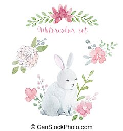 Watercolor rabbit with flowers