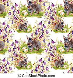 Watercolor rabbits with flowers seamless pattern vector illustration