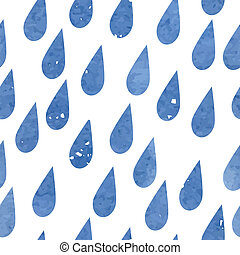 Watercolor rain drops seamless background pattern....