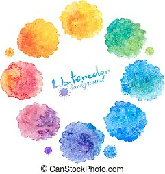 Watercolor rainbow colors stains vector set