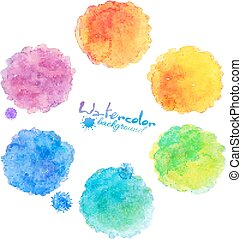 Watercolor rainbow colors vector stains collection