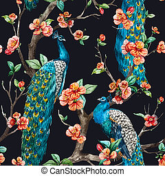 Watercolor raster peacock pattern