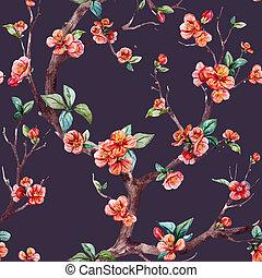 Watercolor raster sakura pattern