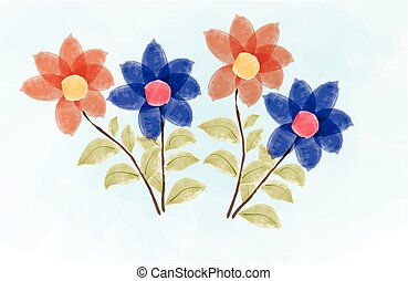 Watercolor red and blue beautiful flower background illustration