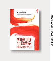 Watercolor red, fire, yellow color design banner.