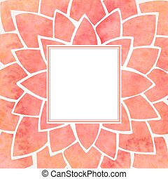 Watercolor red flower frame. Vector illustration