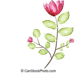 Watercolor red flower with green leaf vector illustration