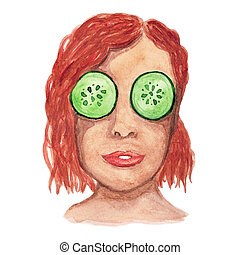 Watercolor red-haired girl with a mask of cucumbers in her eyes.