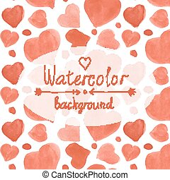Watercolor red hearts pattern