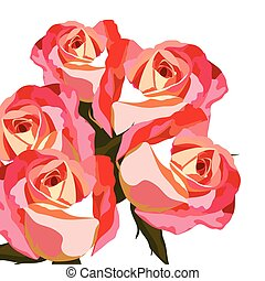 Watercolor Red rose flower