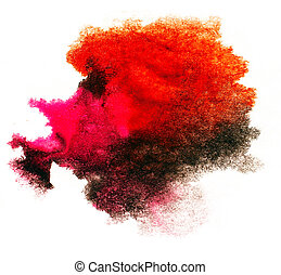 watercolor red splash isolated spot handmade colored...