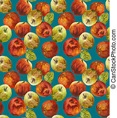 Watercolor red, yellow and green apples seamless pattern on blue background.